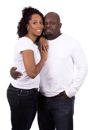 american content: nice black casual couple posing on white isolated background