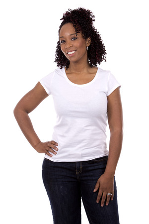 black women hair: casual black woman posing on white studio background Stock Photo