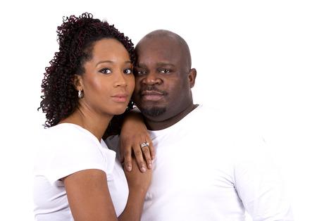 guy portrait: nice black casual couple posing on white isolated background
