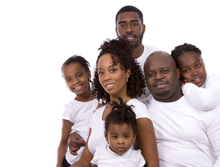 little man: casual young black family on white isolated background