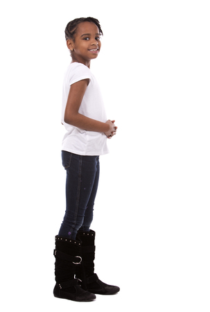 black girl: casual black girl posing on white studio background