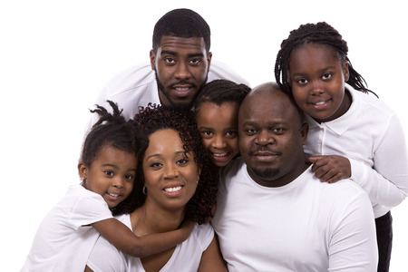african lady: casual young black family on white isolated background