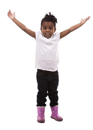 kids background: casual black girl posing on white studio background
