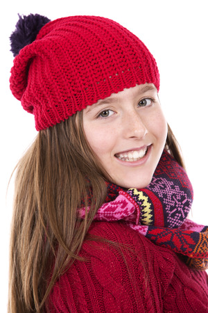 beautiful teen girl: pretty caucasian casual girl on white isolated background Stock Photo
