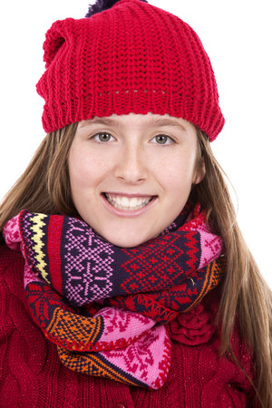 child model: pretty caucasian casual girl on white isolated background Stock Photo