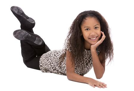 white girl: pretty ethnic girl on white isolated background Stock Photo