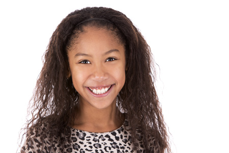 child smile: pretty ethnic girl on white isolated background Stock Photo