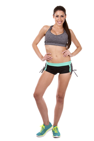 sexy girl: pretty caucasian fitness woman on white isolated background