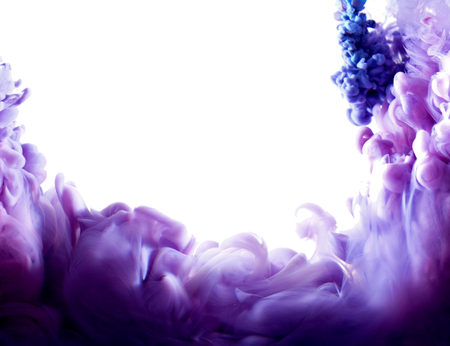 purple abstract art ink on white isolated background