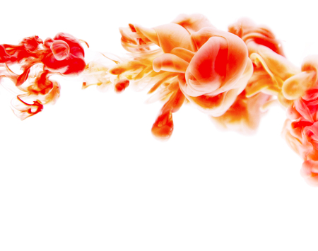 red orange  abstract art ink on white isolated background