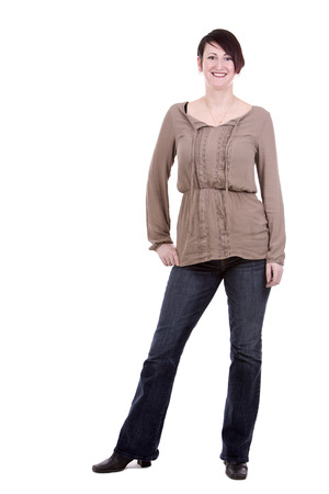 casual woman: brunette caucasian casual woman on white isolated background
