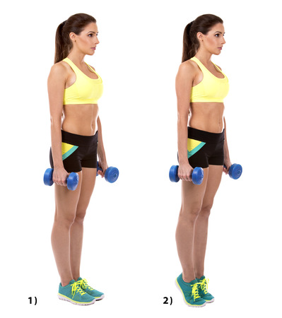 fitness woman doing standing calf raise on white background