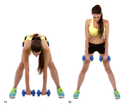 girl sport: fitness woman is doing dead lifts on white background