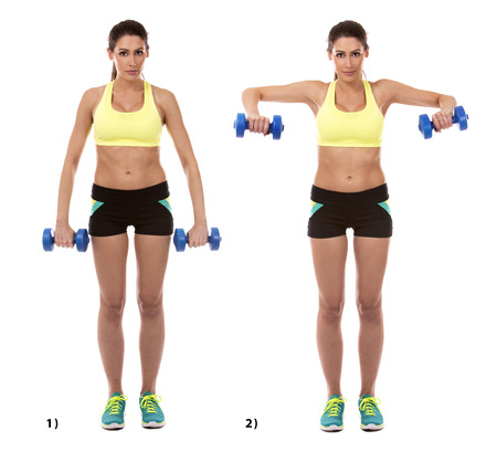 sport training: fitness model is doing arm exercise on white background