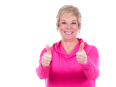 caucasian middle aged woman on white background Stockfoto