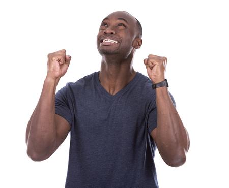 hombre orando: joven negro ocasional miedo y la esperanza en el fondo blanco Foto de archivo