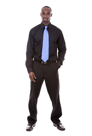 jamaican man: young black business man posing on white background