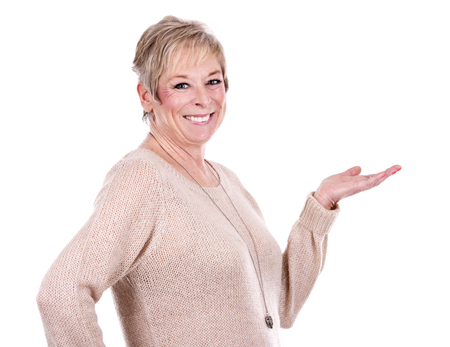 Caucasian woman: caucasian middle aged woman on white background Stock Photo
