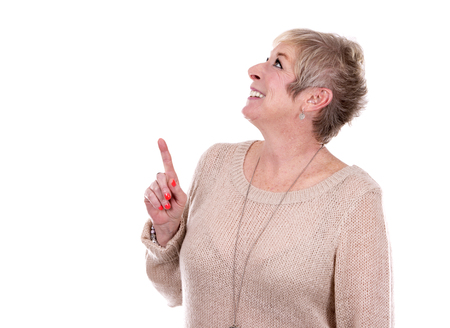 caucasian white: caucasian middle aged woman on white background Stock Photo