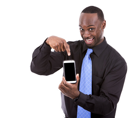 jamaican adult: young black business man using cellphone on white background Stock Photo