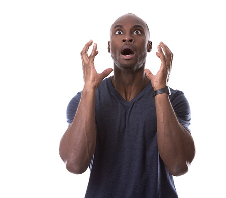 young scared casual black man on white background