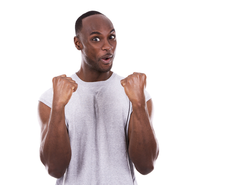 black guy: young fitness black man wearing light tshirt on white background