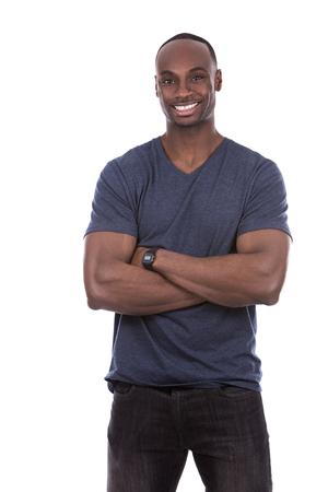 casual jonge zwarte man gekleed in een blauwe t-shirt op een witte achtergrond