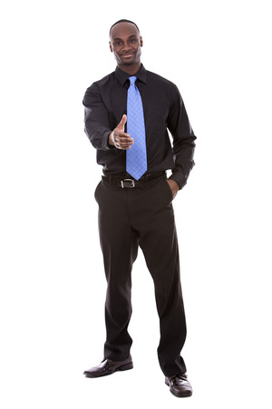 african man: young black business man posing on white background