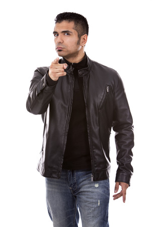 leather: young casual man wearing black jacket on white background