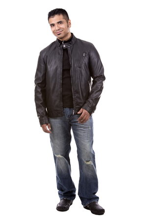 spanish looking: young casual man wearing black jacket on white background