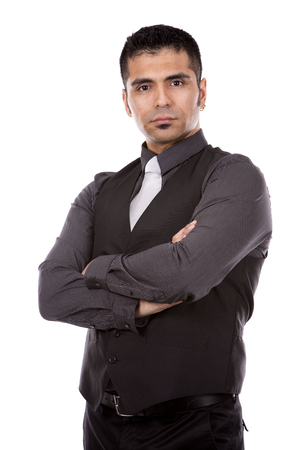 office man: young business man wearing suit posing on white background