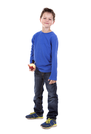 six years: six years old boy wearing blue outfit on white background
