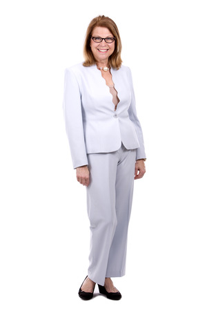 caucasian white: middle aged caucasian woman wearing business on white background