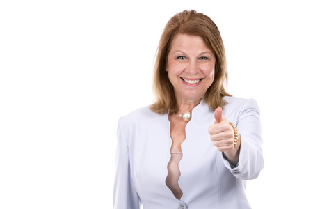 executive women: middle aged caucasian woman wearing business on white background