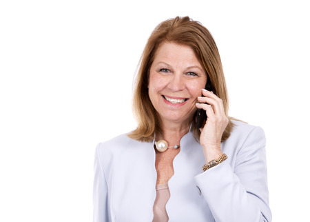 middle age: middle aged caucasian woman wearing business on white background