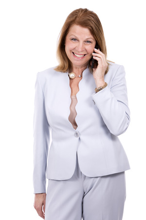 phone isolated: middle aged caucasian woman wearing business on white background