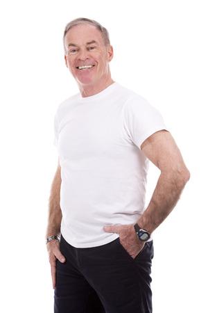 흰색 배경에 잘 생긴 백인 남자 입고 여름 옷