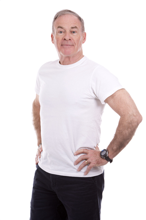 white face: handsome caucasian man wearing summer outfit on white background Stock Photo