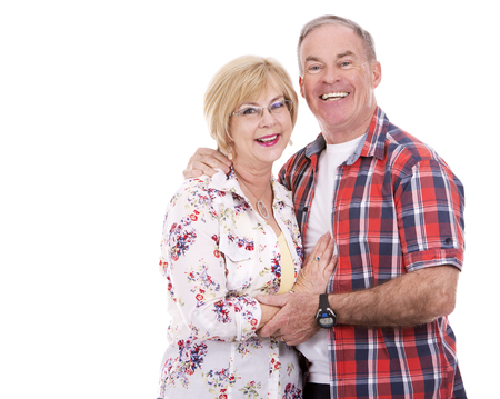 adult woman: retired couple wearing summer outfits on white isolated background