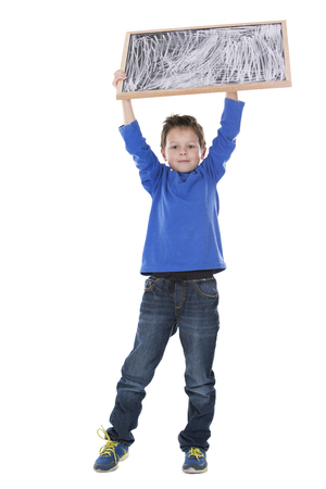 white chalk: casual boy is holding a chalk board on white background