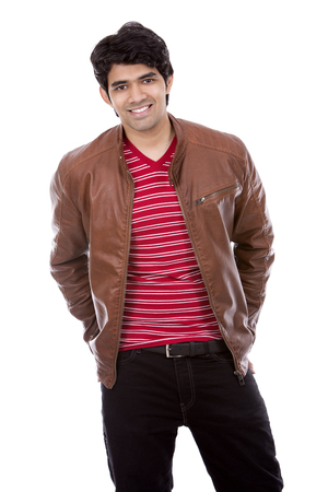 east indian: handsome east indian man wearing red shirt on white isolated background