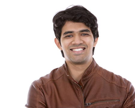 east indian: handsome east indian man wearing brown jacket on white isolated background Stock Photo