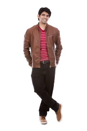 white face: handsome east indian man wearing red shirt on white isolated background