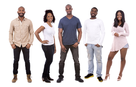 people laughing: five people wearing casual outfits on white background