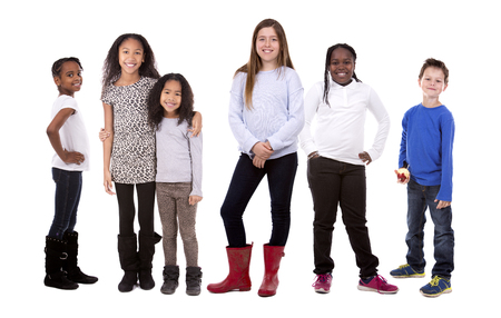 six people: six people wearing casual outfits on white background