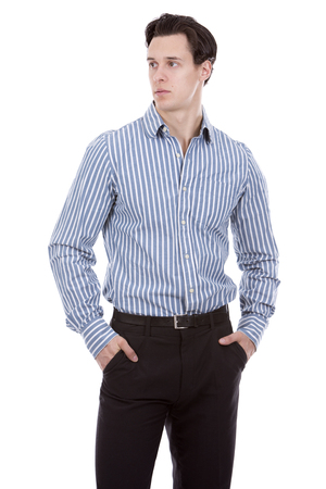 man shirt: young caucasian man wearing blue shirt and black pants on white background