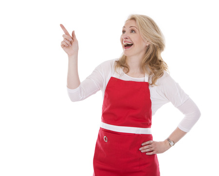 blond woman wearing red apron on white isolated background