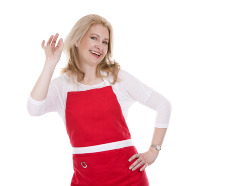 salesgirl: blond woman wearing red apron on white isolated background