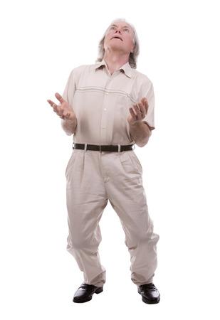 charisma: senior caucasian causual posing on white isolated background