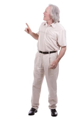 senior men: senior caucasian causual posing on white isolated background
